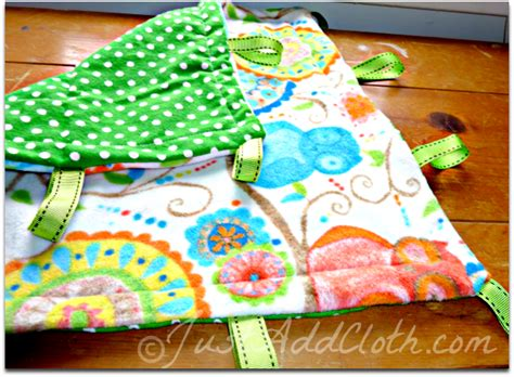 Handmade Taggies - a simple taggie blanket just add cloth