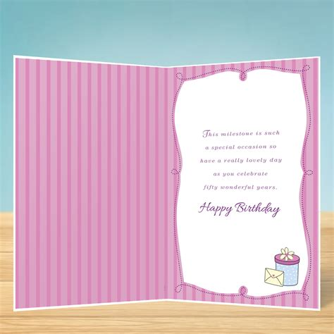 Birthday Card Enjoy your 50th Birthday   Garlanna Greeting