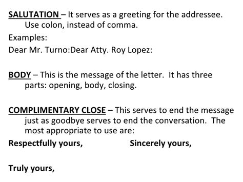 Business Letter Supplementary Parts basic and miscellaneous parts of business letter