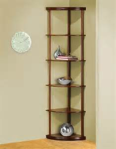 cherry finished 6 tier pie shaped corner shelf etagere