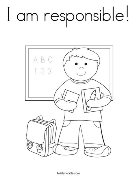 coloring pages elementary students i am responsible coloring page twisty noodle