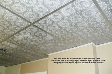 Painting Ceiling Tile Grid by Cover Drop Ceiling Panels With Textured Wallpaper And