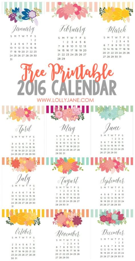 printable calendar 2016 free 2016 free printable calendar lolly jane