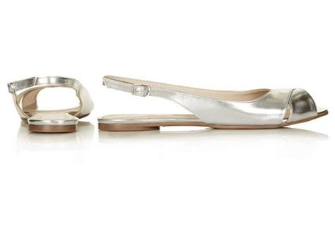 silver flat slingback shoes topshop happen metallic slingback flat in silver lyst