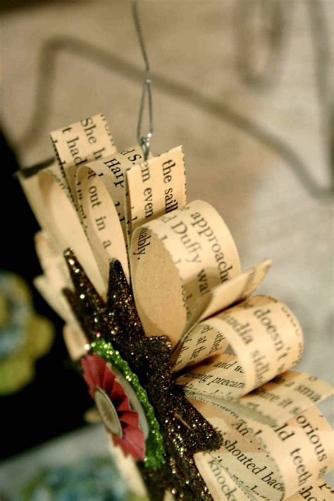 ornaments made with strips of pages from a book could use