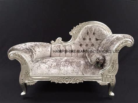 small french chaise longue silver leaf mercury grey