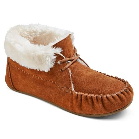 target house shoes women s corene lace up bootie slippers chestnut target