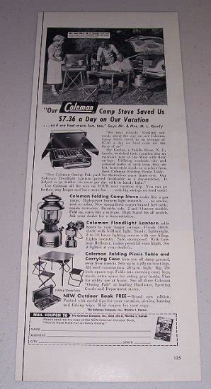 coleman camp stove camping products vintage print ad