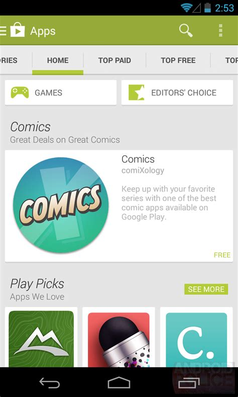 playstore for android exclusive next android play store app 4 4 will switch to slide out navigation screenshots