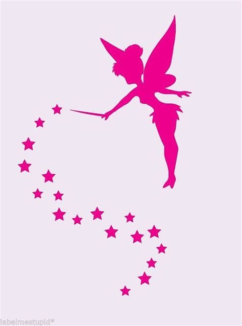 purple walls that look like tinkerbell just flew threw the tinkerbell silhouette with stars wall stickers decal free