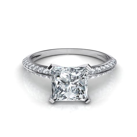 pave engagement rings knife edge pave princess cut engagement ring