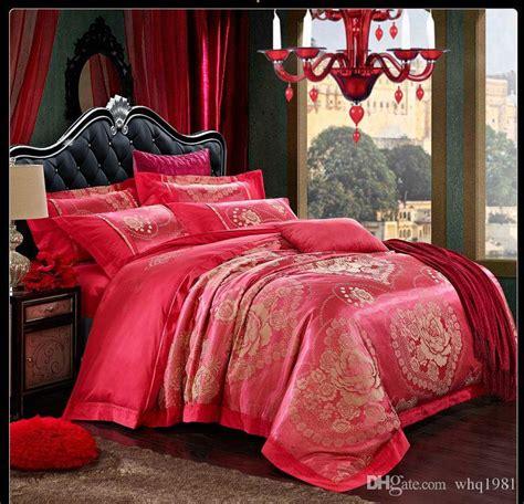 red silk comforter 2015 new design red jacquard silk satin comforter bedding