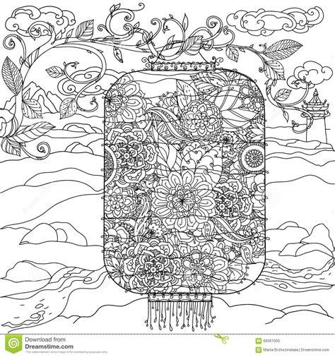 doodle flowers interpretation lantern zentagle stock vector image 66561055