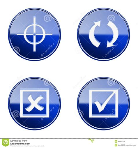 Target Background Check Set Icon Blue Glossy 22 Stock Illustration Image 48309309
