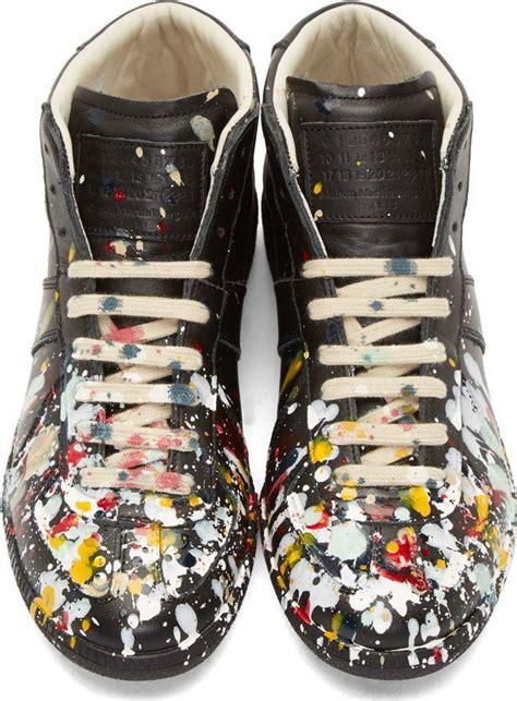 maison martin margiela paint splatter sneakers maison martin margiela black leather paint splatter