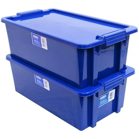 plastic storage containers nz malloy storage plastic fish bin with lid 20l green and blue