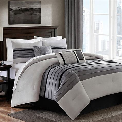 Dylan 6 7 Piece Suede Comforter Set In Grey Bed Bath Grey Bedding Sets