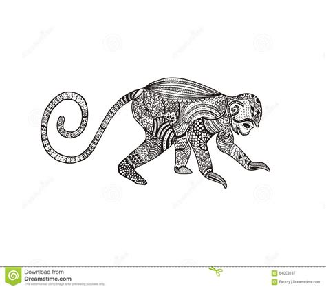 abstract hand drawn zentangle monkey vector stock vector