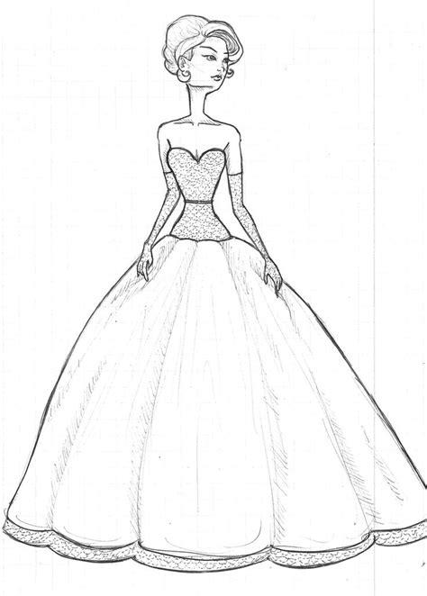 model drawing model drawing retro dress sketch by