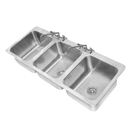 3 compartment drop in sink advance tabco di 3 1410 3 compartment drop in sink 50 quot w x