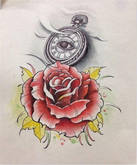 玫瑰钟纹身手稿