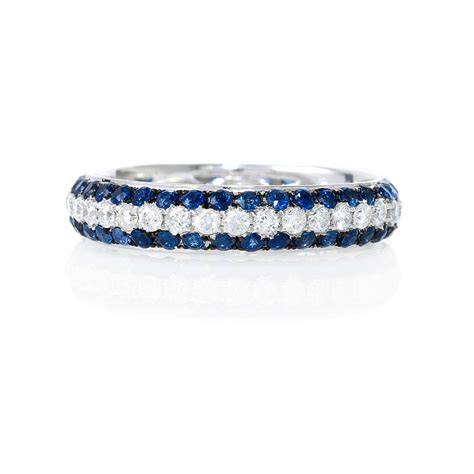 ct diamond  blue sapphire  white gold eternity