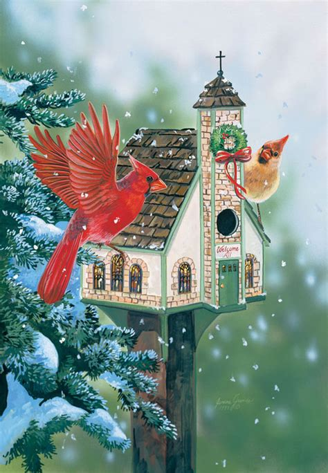 christmas welcome birds welcome all cardinals jigsaw puzzle puzzlewarehouse