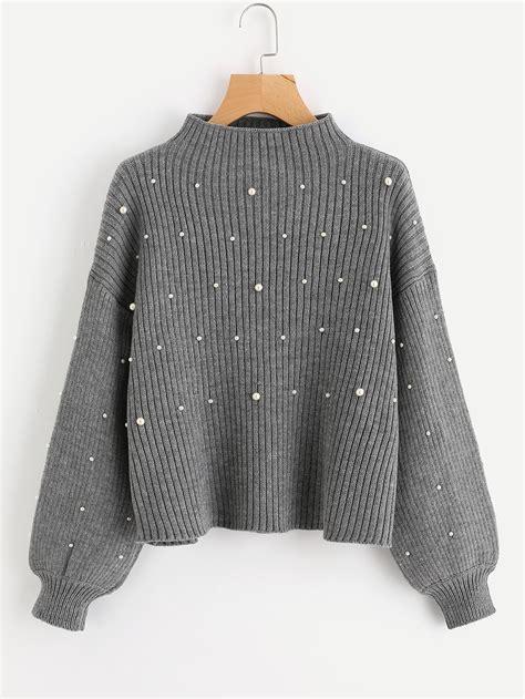 pearl knit pearl beaded rib knit jumper shein sheinside