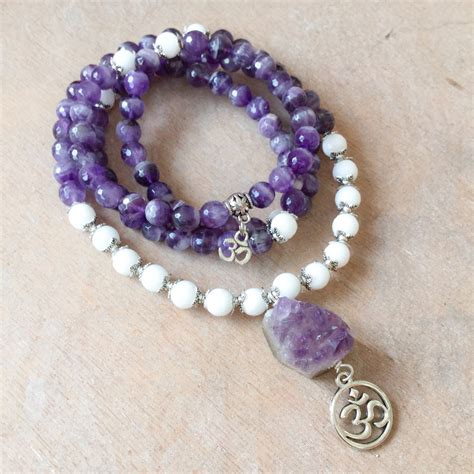 amethyst mala amethyst mala 108 amethyst white jade with