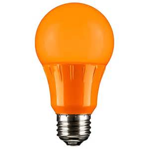 orange led a19 120 volt e26 medium base party light bulb not dimmable for use in dry