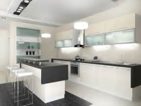 Ultra modern white kitchen with glass front cabinets and dark counter