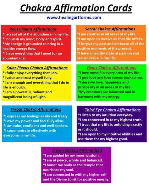 chakras colors chakra color affirmation cards printable positive