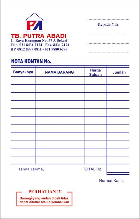 K3 Buku Nota Kontan Rangkap 3 Kecil cetak nota bon rangkap arung printing