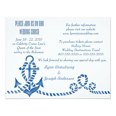 Nautical Anchor Cruise Ship Wedding Invitation   Zazzle