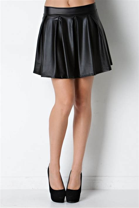 faux leather skater skirt in black poetic pink