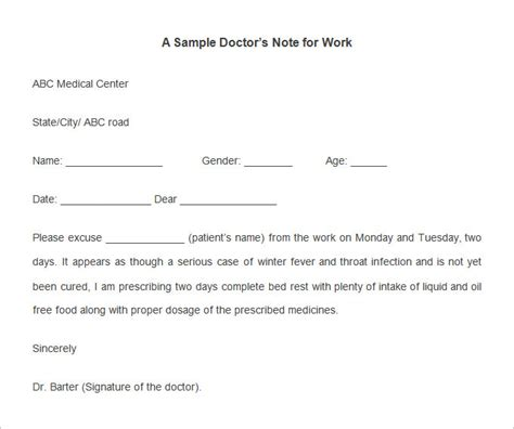 doctors note for work template 22 doctors note templates free sle exle format