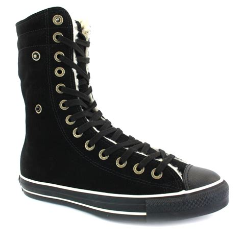 converse all knee high womens trainers black