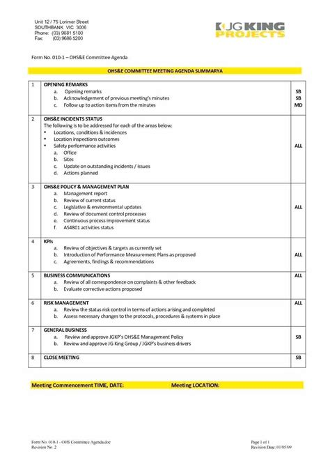 committee meeting agenda template safety committee meeting agenda template