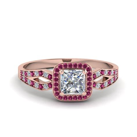princess cut split shank halo engagement ring with