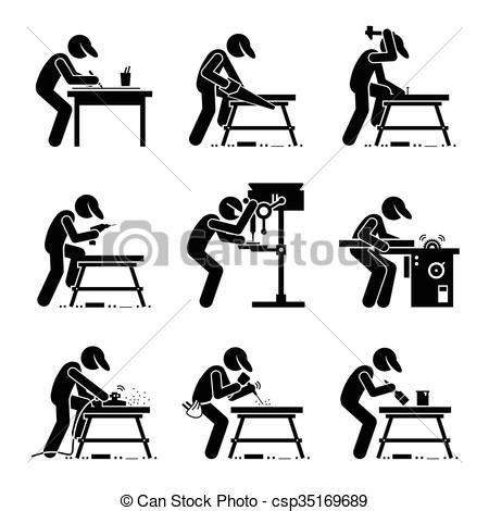 Clipart Vector Of The Carpenter Cartoon Illustration Of vektor von holzbearbeitung werkzeuge zimmermann satz