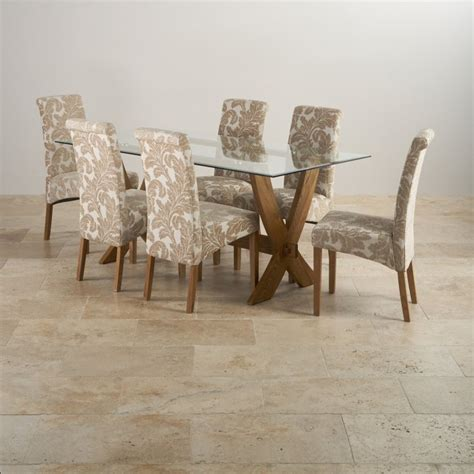 quercus 6ft dining table in rustic real oak reflection rustic oak dining table 6 patterned chairs