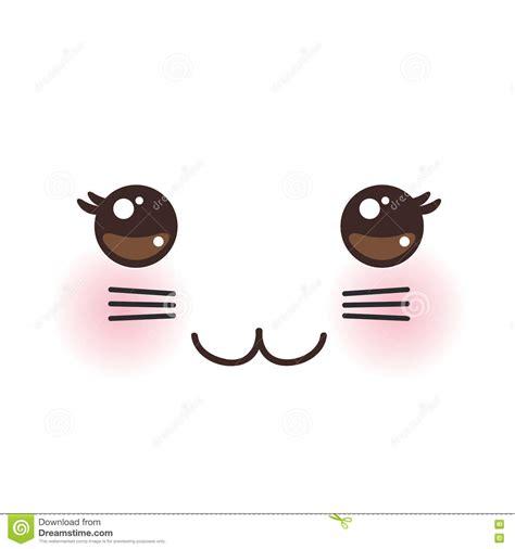imagenes de ojos kawai bozal divertido del gato de kawaii con las mejillas