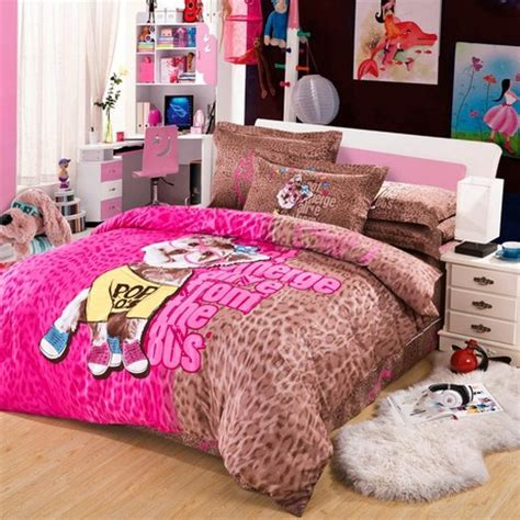 Dog Print Bedding Set Twin Queen King Size Pink And Brown Pink And Brown Bedding Sets