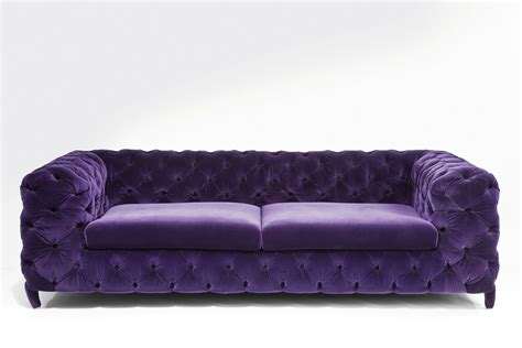 modern purple velvet tufted sofa with 2 cushions for