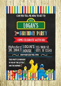 sesame personalized printed chalkboard birthday invitations partycreations4u cards on