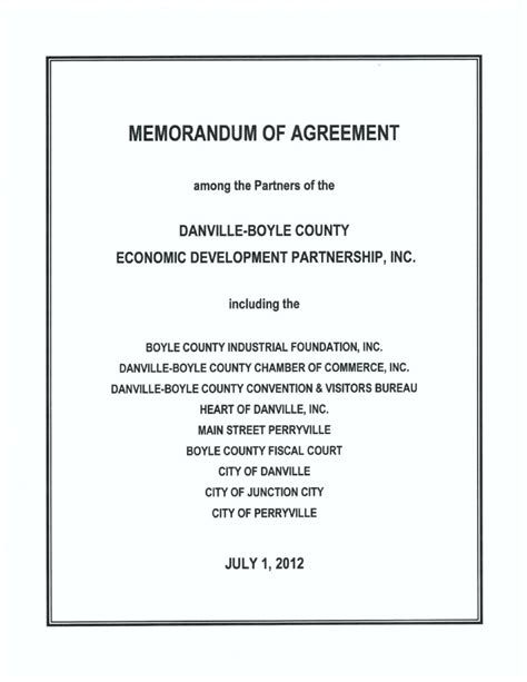 template memorandum of agreement danville boyle county economic development partnership