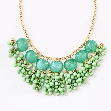 Beaded Drop Necklace cascading bead necklace mint statement necklace with