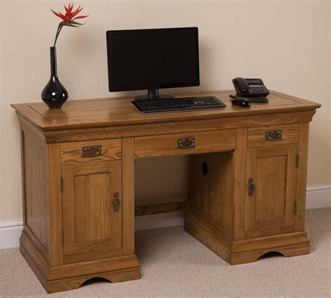 Large Computer Desk Rustic Solid Oak Large Computer Desk Office Studio Unit Furniture Ebay