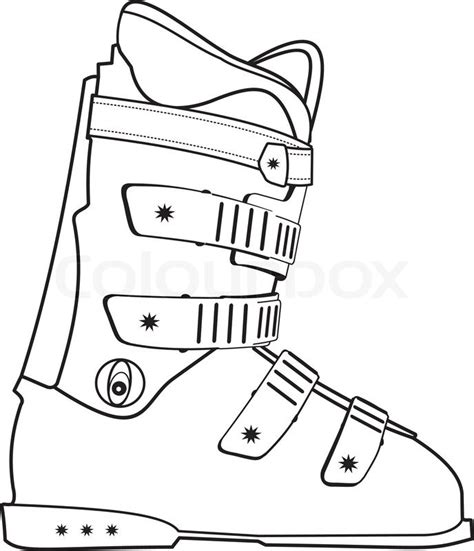 ski boat drawing isolated illustration of ski sports boot contour on white