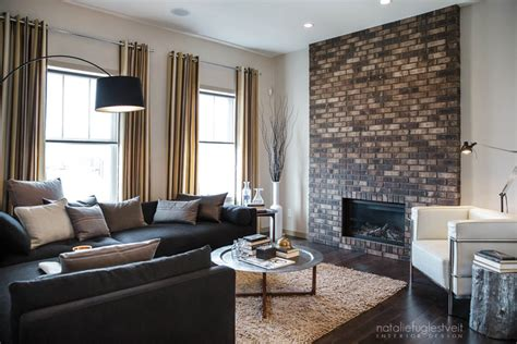 calgary home and interior design show stripes brick metal industrial modern living room by